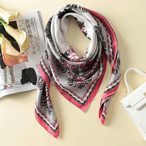 2019 nova chegada moda elegante marca paisley 100% lenço de seda 90*90 cm quadrado xale sarja envoltório para mulher frete grátis