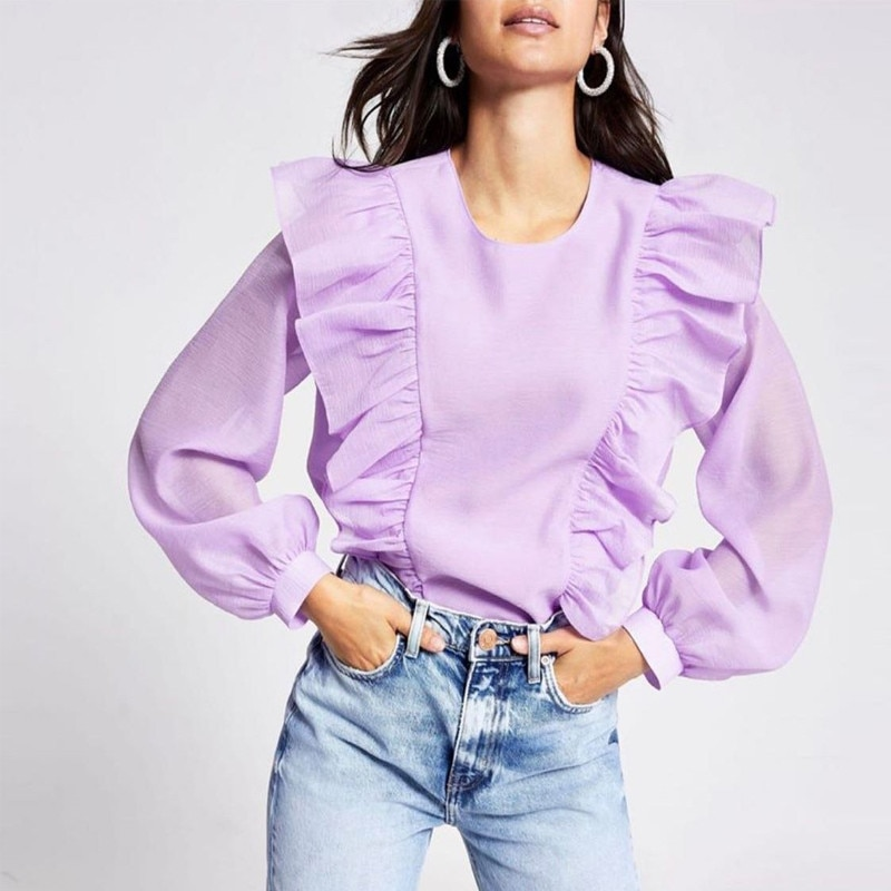 Za 2020 blusa com babados para mulheres, gola redonda manga comprida chique abertura com botão moda slim roxa camisa verão