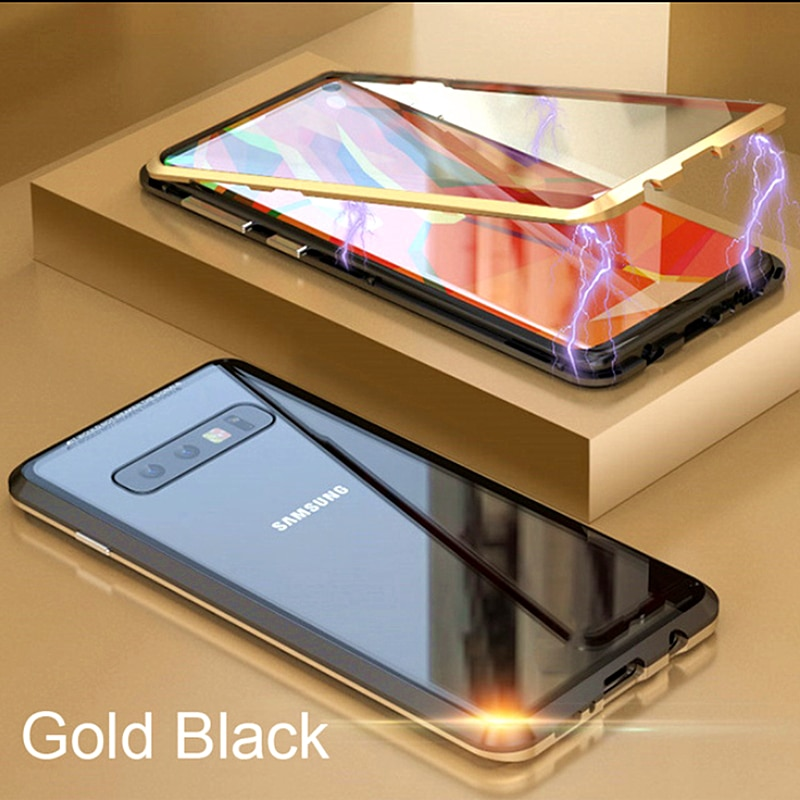 360 Full Magnetic Metal Double Side Glass Phone Case For Samsung S10 Case Galaxy S8 9 A20 Magnet Adsorption Tempered Glass Cover