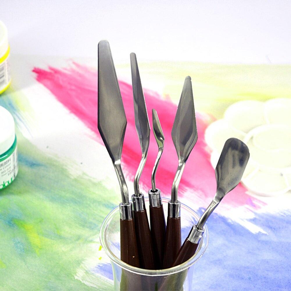 5 pçs novo profissional de aço inoxidável espátula kit faca paleta para pintura a óleo belas artes pintura conjunto ferramenta lâminas flexíveis # n