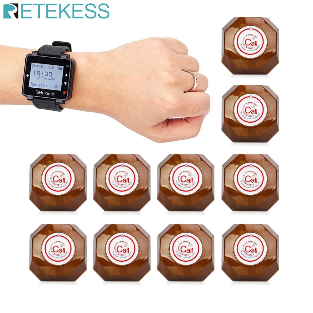 RETEKESS النادل نظام اتصال لاسلكي الجدول جرس نداء بيجر T128 ساعة استقبال 10 أزرار الدعوة لمطعم مقهى بيجر
