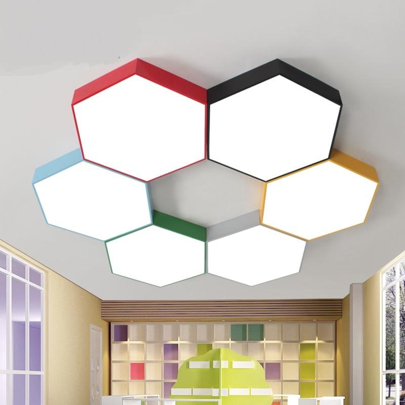 Geometric led ceiling lamps Multi-color honeycomb Living Room Restaurant Cafe kindergarten clothing store ceiling lights ZA