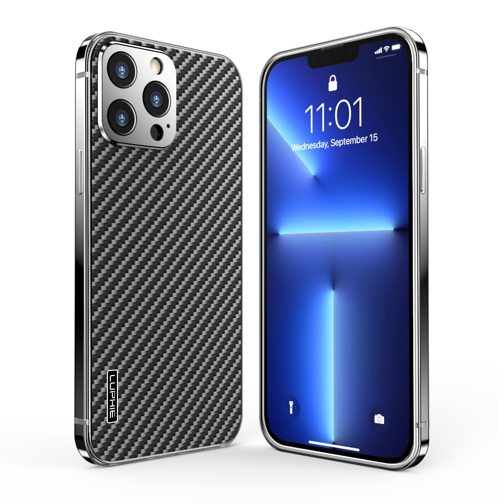 آيفون 13 برو ماكس مطلي من ألياف الكربون قضية الهاتف ، iPhone13 صغيرة مريحة اليد يشعر تعزيز مكافحة الإفلات حماية