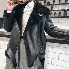Veste haut femmes qualité peau de mouton cuir chaud hiver agneau fourrure manteau épais moto Parkas 25224 MF402