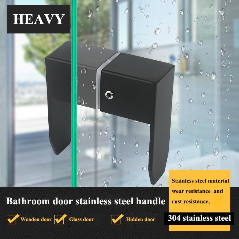 304 الفولاذ المقاوم للصدأ زجاج غرفة الاستحمام الباب كابينة زجاجية مقبض أبواب الحمامات مقبض باب واحد الباب الأسود