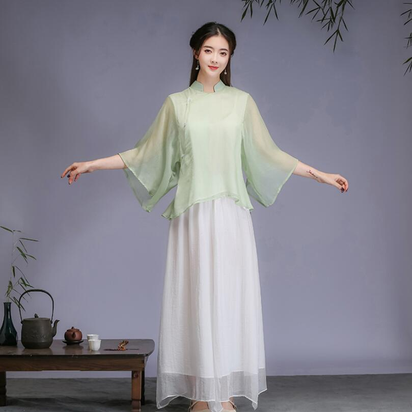 Traditional Chinese Women Tang Suit Set ancient Style Breathable Clothing Comfortable summer Clothes Asia elegant apparel недорого