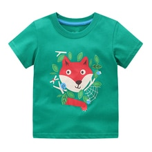 Little maven Baby Kids T-Shirt Green with Fox Cotton Soft and Comfort Casual Summer Clothes for Chil