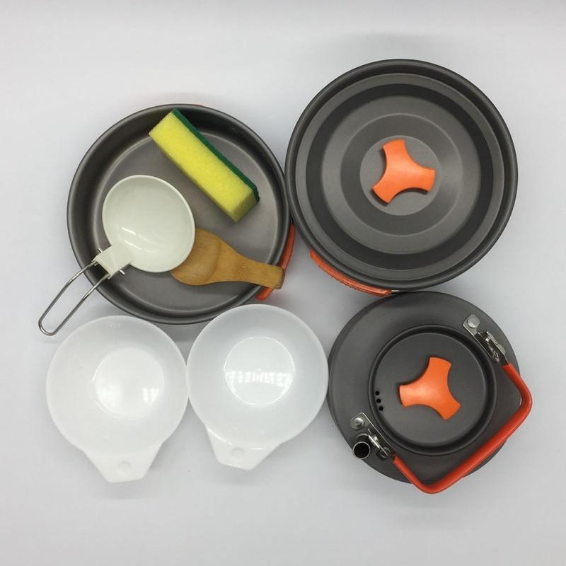 Juego de ollas para exteriores, 8 estuches, juego de ollas para acampar en interiores y exteriores Draagbare Koken Pot-Pan Koekenpan Kookgerei Picknick, servicios