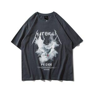 Hip Hop Streetwear Summer Short Sleeve T Shirt Men Lightning Peace Pigeon Print Tops Tees Casual Cotton Woman T Sshirt