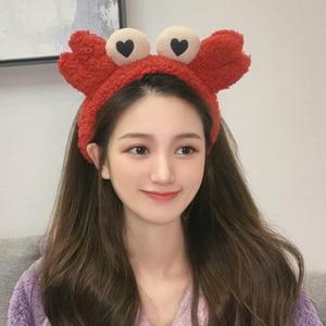 New Women Girls Cute Colorful Crab Plush Headband Lovely Hair Ornament Turban Selfie Props Hairbands Fashion Hair Accessories