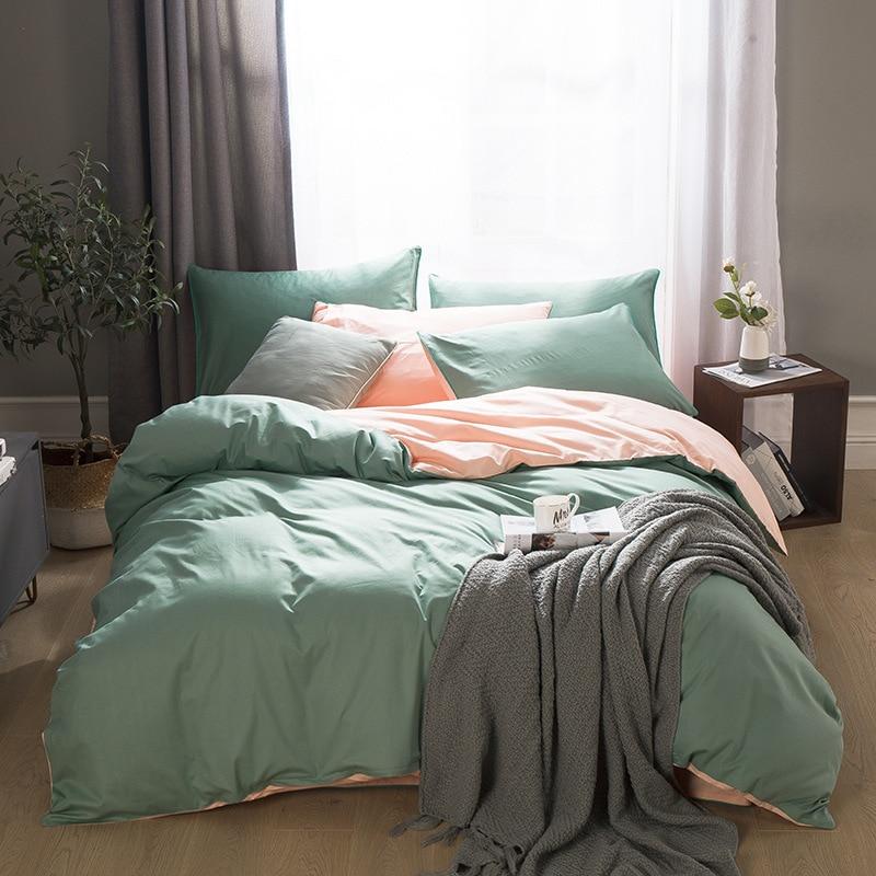 2020 New Home bedding cotton set solid bed linen set 100% cotton AB side duvet cover set Brief style bedclothes 3/ 4pcs bed set