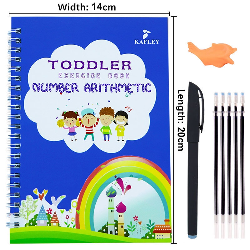 Children Educational 3D Exercise Book Reusable Copybook For Calligraphy Digital Learning Arithmetic Math Writing Books For Kids enlarge