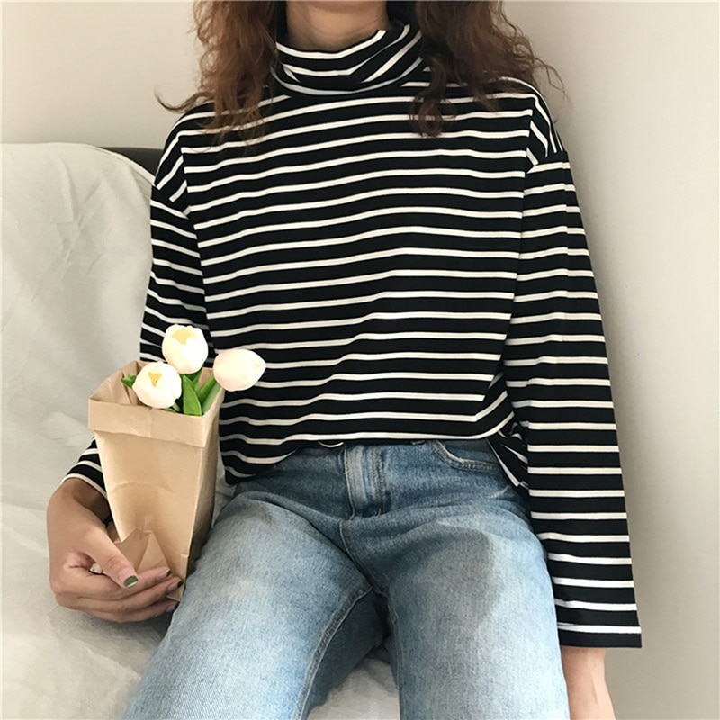 Camiseta de cuello alto de estilo coreano para mujer, camiseta ajustada para mujer, blusas de fondo, pulóver Harajuku, camisetas de manga larga a rayas