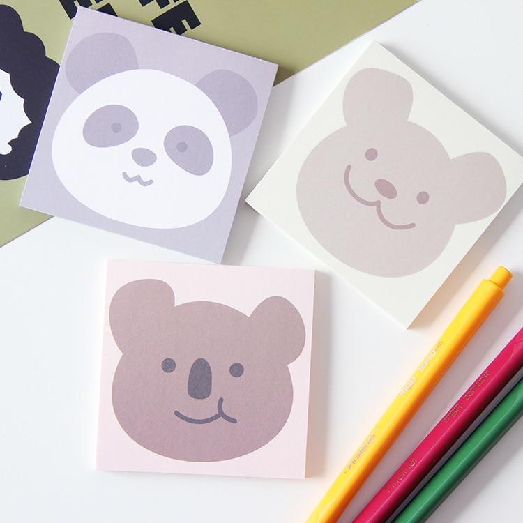 SIXONE, 50 листов, милая мультяшная улыбка, коала, медведь, панда, блокнот, портативная, Kawaii, без когезии, школьная записная книжка, канцелярские п...