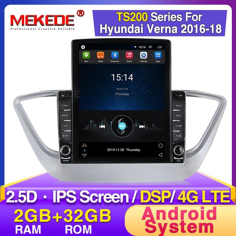 MEKEDE Android System RAM 2GB Car Radio For Hyundai Verna 2008 2009 2010 2011 -2016 Multimedia Player Head Unit BT 2.5D WIFI BT