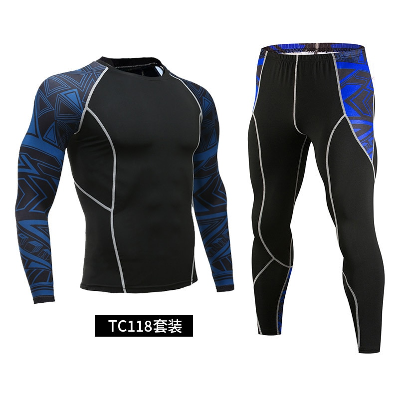 New men's sports suits, running tights, compression suits, men's sweatshirts + training pants, camouflage 2 pieces of sportswear