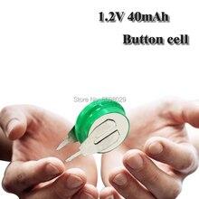 1.2v 40mAh NI-MH batteria ricaricabile delle cellule del tasto della batteria a bottone Con La Saldatura Spilli Per lampade a LED Auricolari