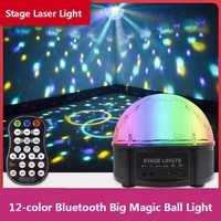12 color bluetooth magic ball lights stage laser voice control speaker music rgbw lights projection disco party perfect effect