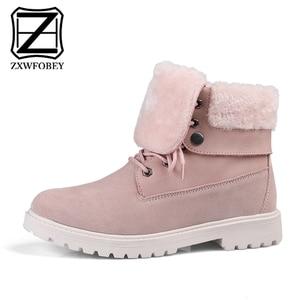 ZXWFOBEY Snowboots Boots Women Punk Boots Women Genuine Leather Winter Moto Shoes Woman Fur Winter Shoes Snow Platform