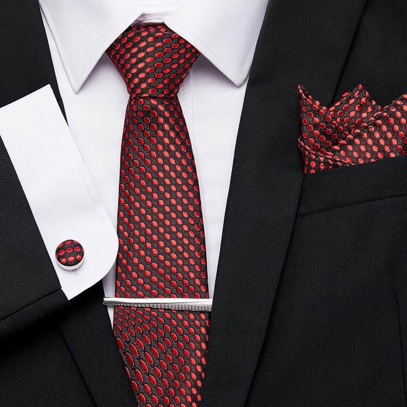 Luxury New Dot Men Neckties Extra Long Size 145cm*7.5cm Necktie 100% Silk Handkerchief Tie Clip Cuffink Tie Set Men Classic Ties new white men ties set extra long size 145cm 7 5cm plaid necktie 100