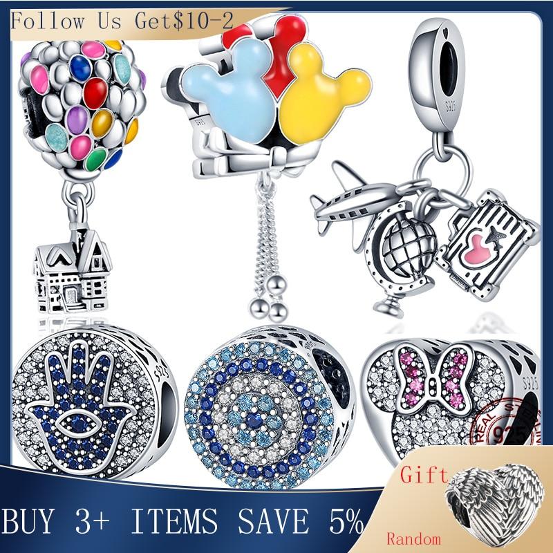 Hot Sale 100% Real 925 Sterling Silver Ariel Balloon Charm Fit Original 3mm Bracelet Making Fashion DIY Jewelry For Women