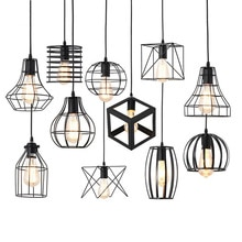 16 tipos negro moderno jaula colgante luces hierro minimalista retro nórdico loft pirámide lámpara colgante de metal E27 Indo