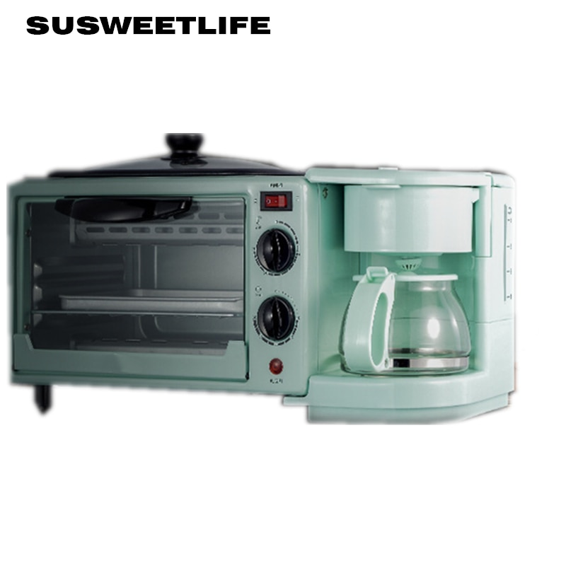 Home multifunctional three-in-one breakfast machine Mini electric oven Coffee maker Omelette Bread maker Toaster