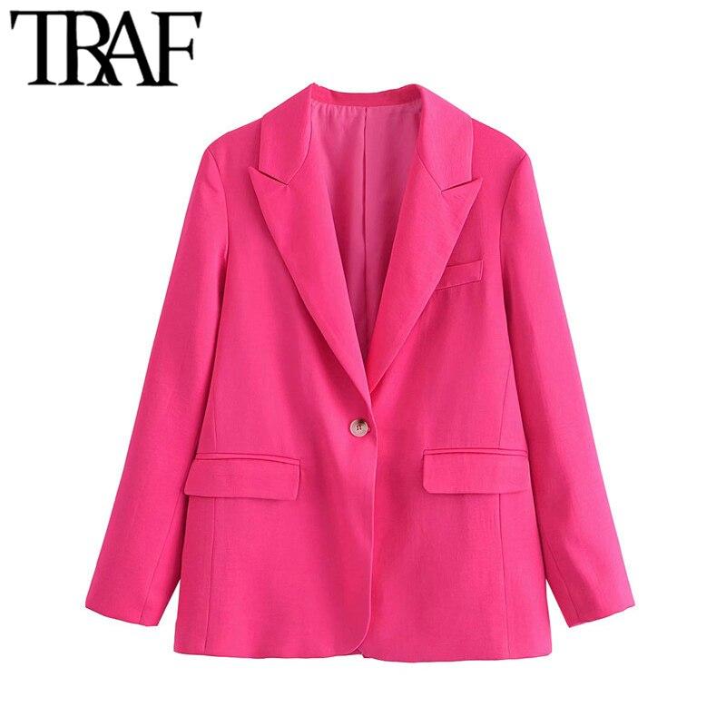 معطف سترة نسائي من TRAF بزر واحد مقاس كبير وأكمام طويلة وجيوب طويلة ملابس خارجية نسائية أنيقة