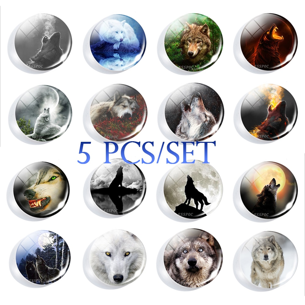 5PCS/SET Howling Wolf and Full Moon DIY Handmade 25mm Round Glass Cabochons for Pendaant Making Fashion Jewelry Accessories 2020 hot sale new fashion 5pcs lot 25mm handmade photo glass cabochons