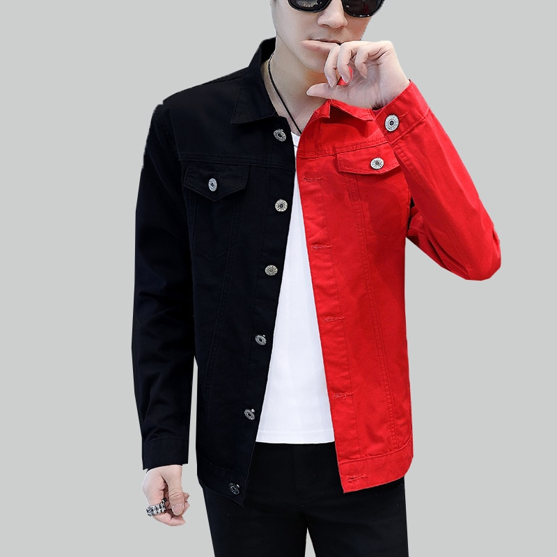 Nueva chaqueta vaquera Casual ajustada para hombre, primavera otoño 2019, chaqueta vaquera negra roja, ropa para Calle de hombre, ropa de vaquero para hombre 819