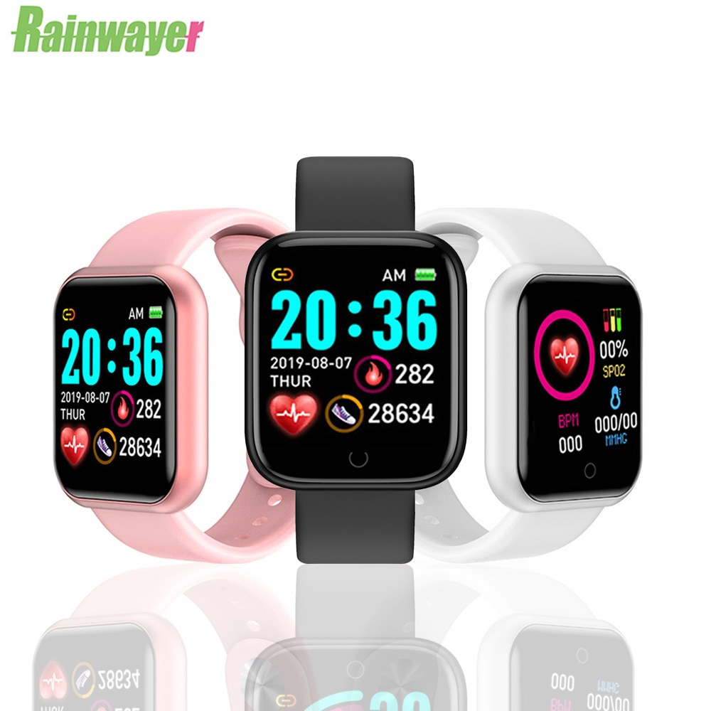 D20 Men Women Couple Watch Y68 Smart Watch Blood Pressure Heart Rate Monitor Sleep Tracker Watch For