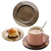 wooden coasters heat insulation coasters tea coffee cup mats placemats decorative durable round non slip mats kitchen tools