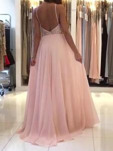 New Sexy Pink Beaded Evening Dresses Long 2020 Backless Chiffon Women Girls Formal Dresses Evening Party Prom Gowns