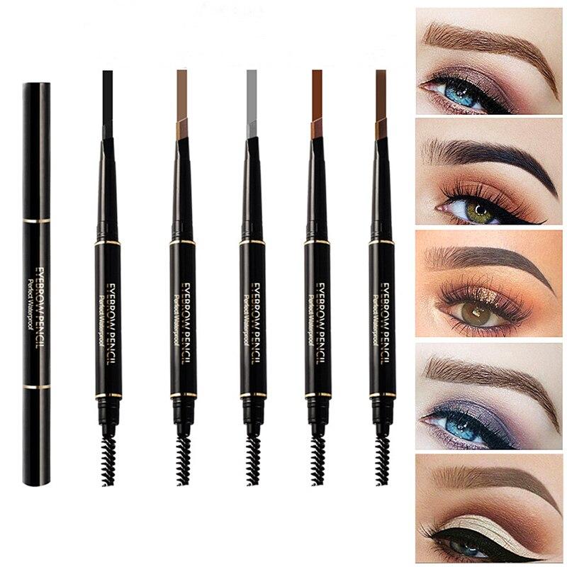 Lápiz para cejas, 5 colores, resistente al agua, Natural, delineador de rotación automática, lápiz para cejas con brocha cosmética de belleza, herramienta