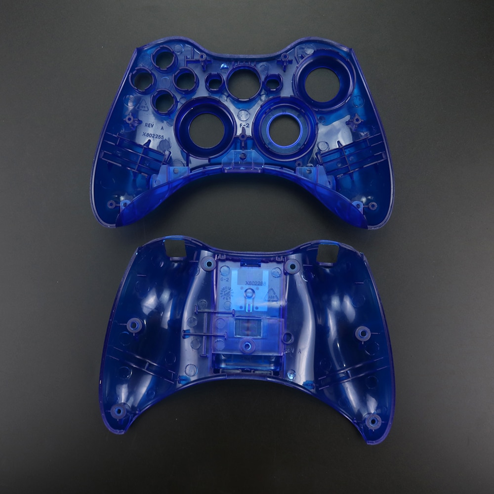 YuXi Replacement Part Clear Blue Wireless Controller Shell Case Bumper Analog sticks Buttons Game for Xbox 360 enlarge