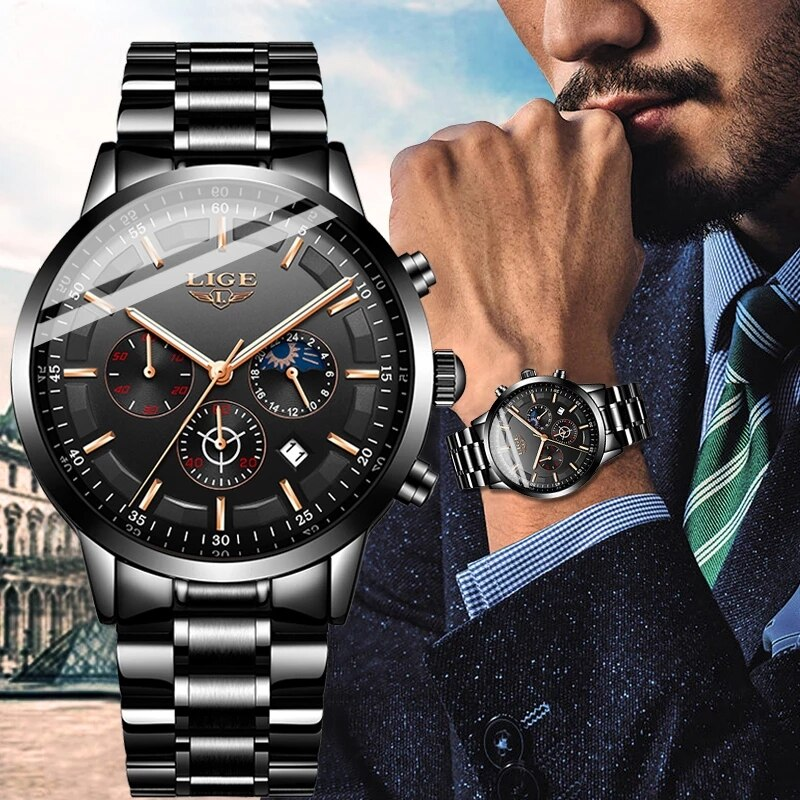 2021 New Fashion Mens Watches LIGE Top Brand Luxury Business Watch Men Stainless Steel Waterproof Quartz Clock Relogio Masculino