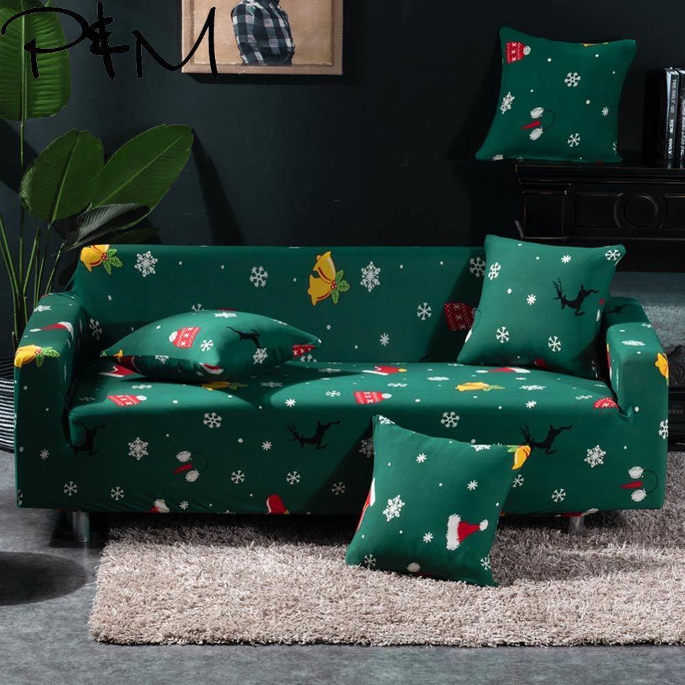 Papa & Mima feliz estampado de Navidad sofá seccional elástico cubre solo dos tres cuatro asientos fundas suaves cubierta de sofá elástico