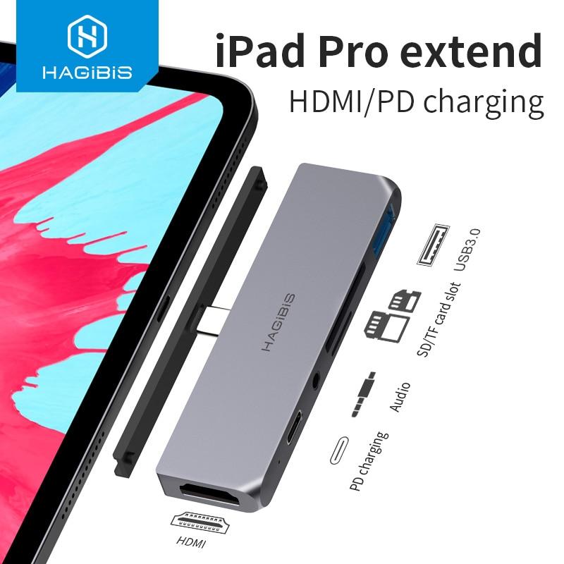 Hagibis USB C HUB TYPE-C إلى HDMI-متوافق محول 3.5 مللي متر الصوت PD شحن USB 3.0 ميناء محول لباد برو ماك بوك محمول
