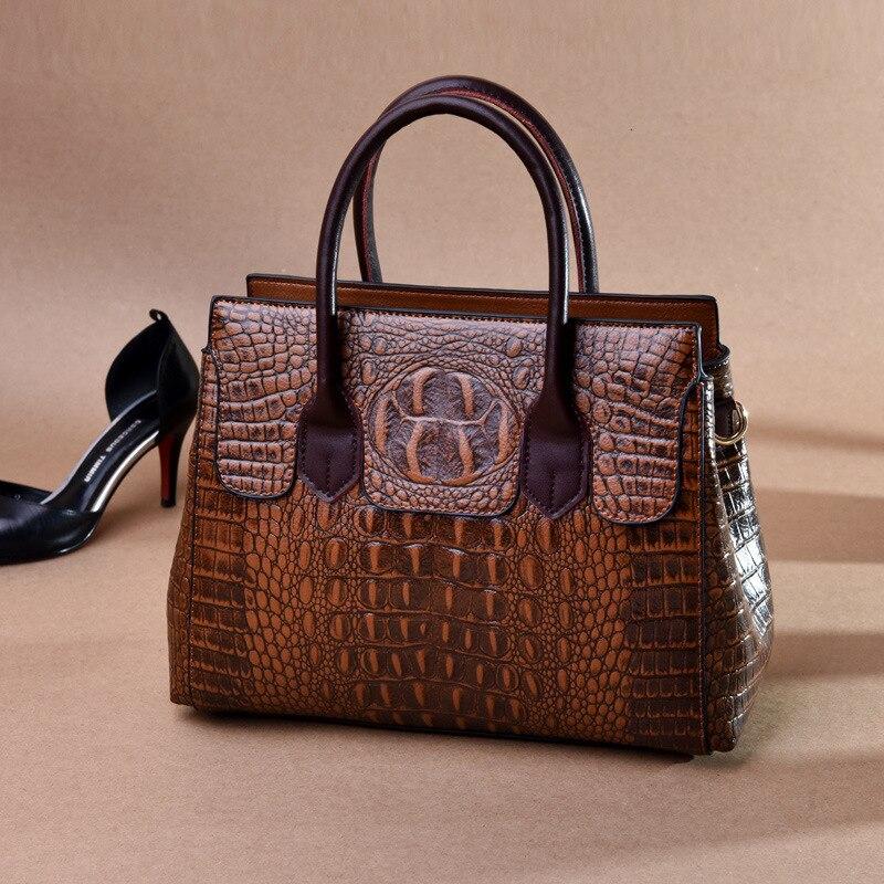 Kajie Vintage Crocodile Genuine Leather Handbag Luxury Designer Women Crossbody Shoulder Bag High Quality Really Cow Tote