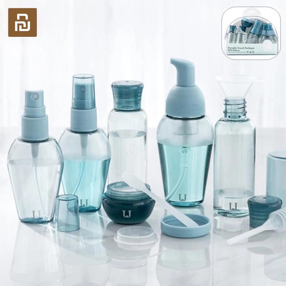 Youpin jordan & judy viagem silicone garrafa conjunto 6 pcs spray recarregáveis garrafas cosméticos hidratante pequena garrafa conjunto para viagens