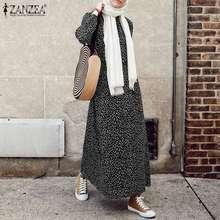 ZANZEA décontracté à manches longues femmes robe musulmane décontracté Abaya Hijab robes Vintage à pois imprimé longue robe de soleil automne grande taille