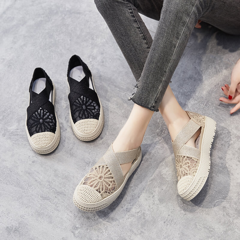2021 Women's Summer Shoes,Black Shoes for Women,Mixed,Gothic,Casual,Woven,Comfort,Breathable,Lace,Rubber Shoes,Loafers Shallow