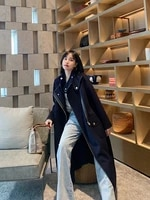 2021 new tibetan blue british style zipper medium long wool coat high end double sided cashmere coat women