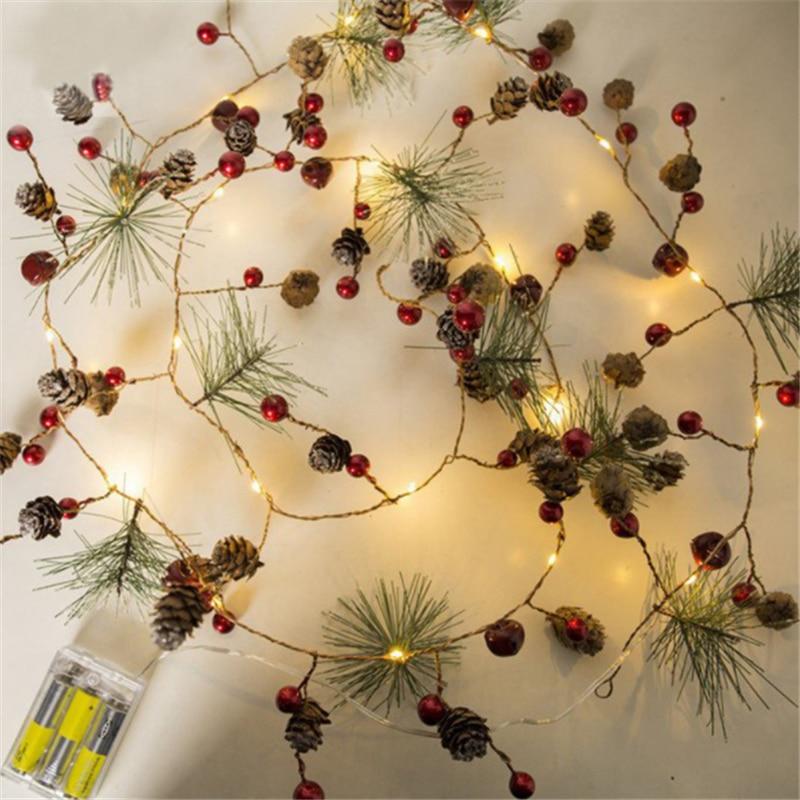 Christmas Decorations for Home 2m 20 Led Copper Wire Pine Cone Led Light Christmas Tree Decorations Kerst Natal Navidad Noel