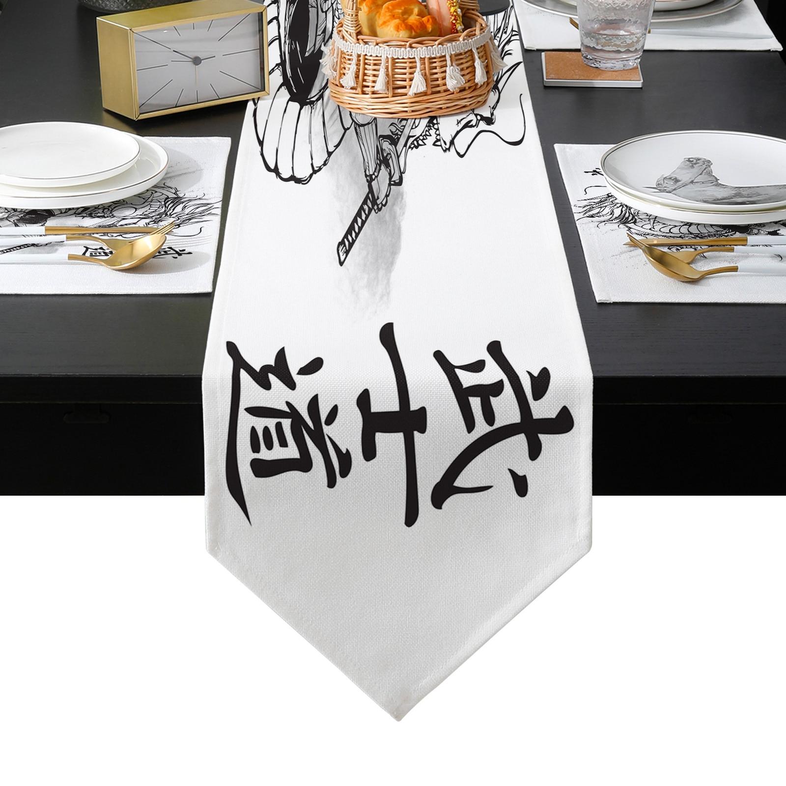 اليابانية الساموراي التنين الجدول عداء الجدول الحصير غطاء للمنزل الزفاف مأدبة مهرجان حفلة التموين فندق الجدول الديكور