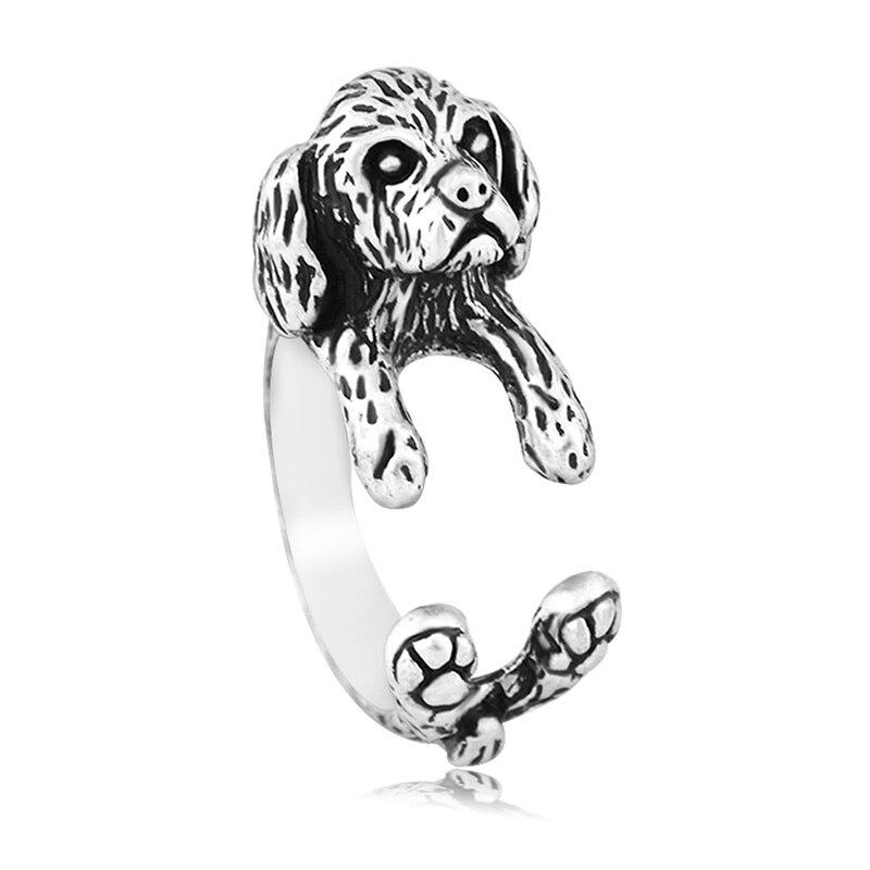 Anillo de perro Vintage Shih Tzu Anel, Anillos de par de Anillos estilo bohemio con Animal para mujeres y niñas, joyería para mejor amiga, regalo Aneis