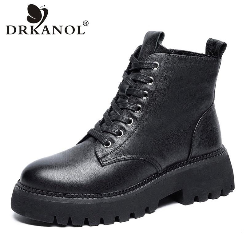 DRKANOL أزياء النساء مارتن الأحذية 2021 الخريف الشتاء جلد طبيعي كعب سميك منصة الدافئة عارضة حذاء من الجلد الإناث H20-15