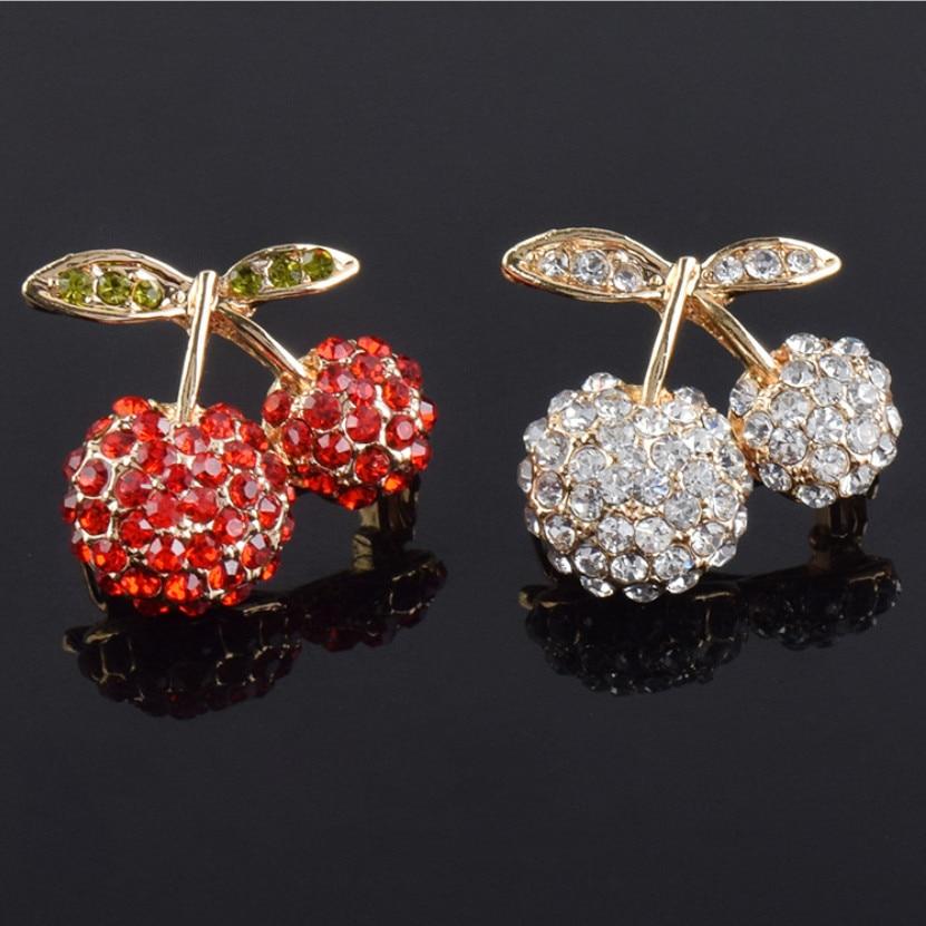 1205 Exqusite Cheery cristal broche Brincos PIN de Jersey insignia joyas conmemorativas bufanda hebilla Bijoux regalo de Navidad X1214