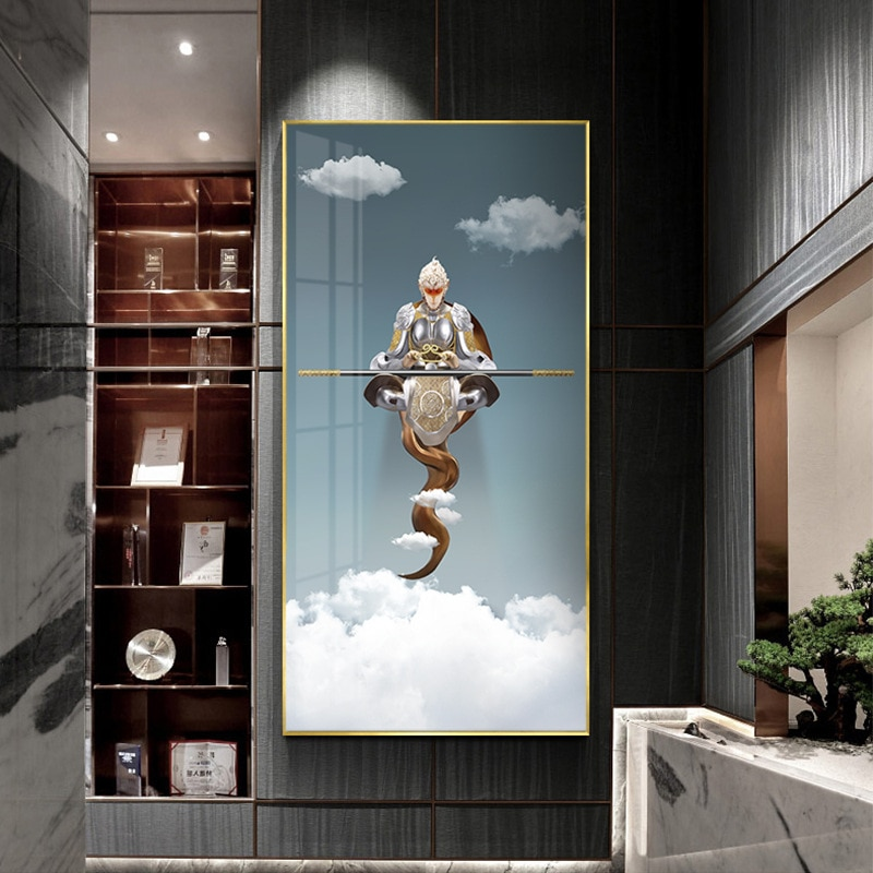 Dibujo de héroe Sun Wukong, lienzo de moda, impresiones artísticas de pared y pósteres imágenes para pared para sala de estar, habitación de niños, decoración del hogar