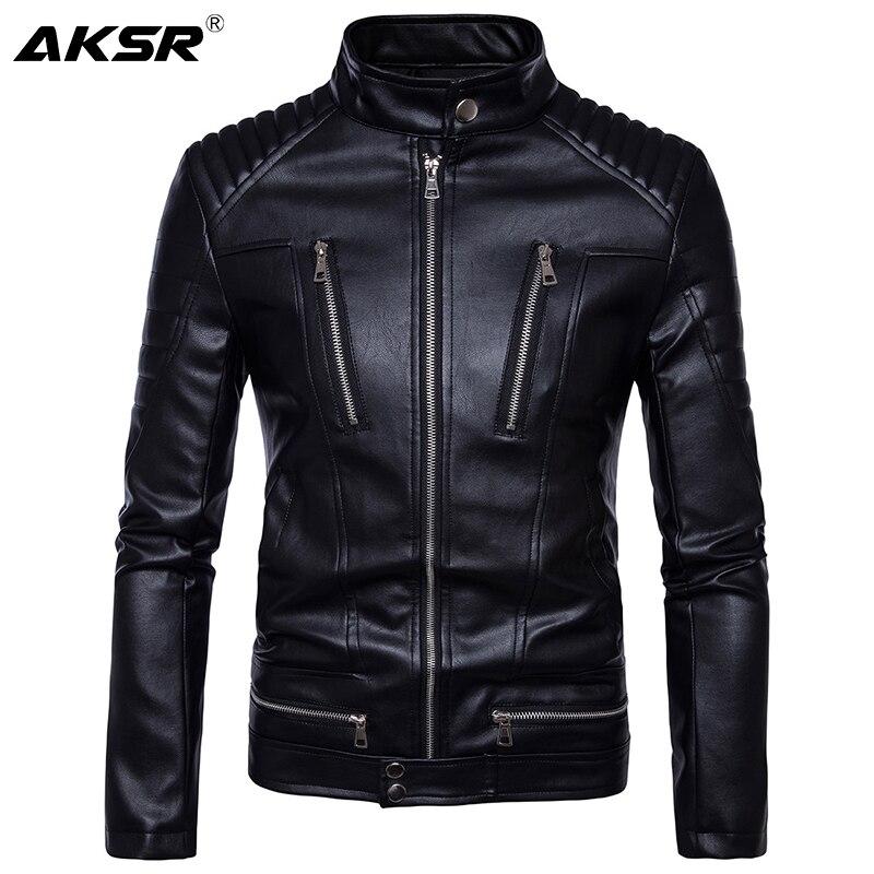 AKSR الرجال سترة جلدية معطف جلد فو اقتصاص سستة فاسق نمط سترة عادية سليم فو الفراء معطف الرجال الساخن حجم M-5XL